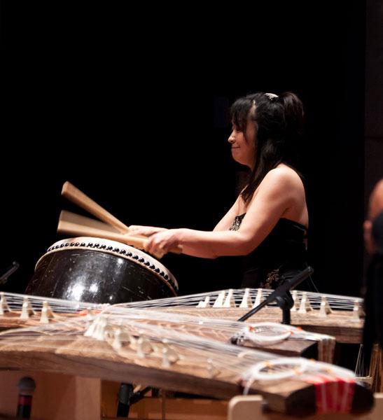 Yukiko Matsuyama playing taiko during finale at Bowers, Santa Ana
